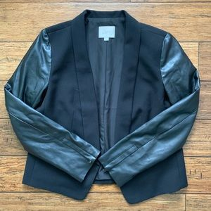 Black Mixed Material Stylish Jacket Blazer